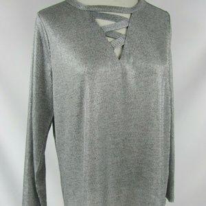 INC Intl Concepts Sweater Plus Sz Silver Metallic